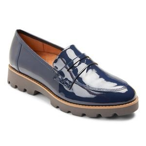 Vionic Cheryl Navy Patent Leather Comfort Loafers